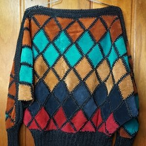 VTG Womens Hand Patched Leather Sweater Hand Made